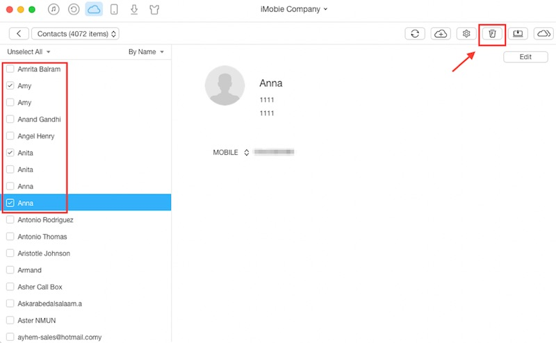 delete contacts in icloud