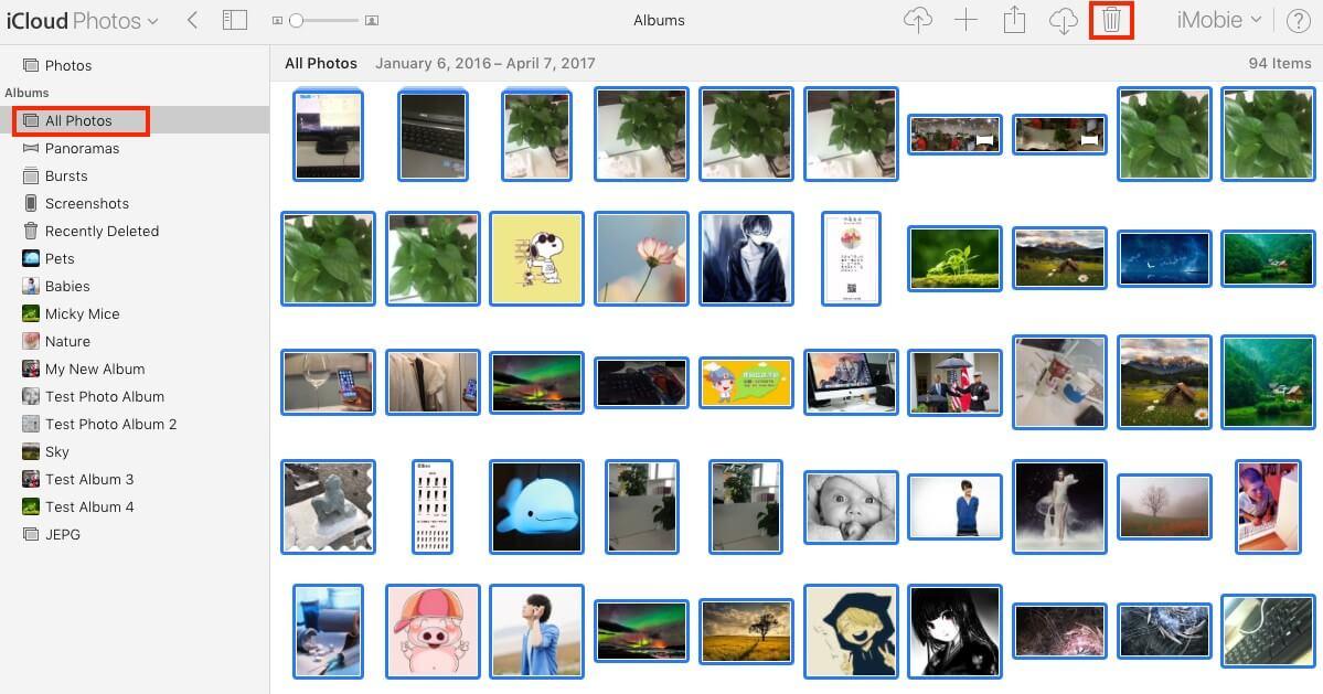 delete icloud photos